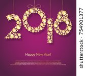 2018 happy new year holiday... | Shutterstock .eps vector #754901377