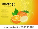 vitamin c soluble pills with... | Shutterstock .eps vector #754911403
