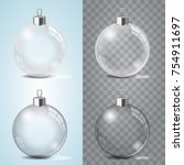 glass christmas toy on a... | Shutterstock .eps vector #754911697