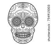 day of the dead colorful skull... | Shutterstock .eps vector #754915003