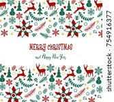 christmas card in retro style....   Shutterstock . vector #754916377