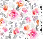 seamless watercolor flower... | Shutterstock . vector #754917883