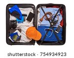 top view of suitcase with... | Shutterstock . vector #754934923