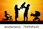 happy family with children at...   Shutterstock .eps vector #754939123