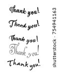 thank you card. hand drawn... | Shutterstock .eps vector #754941163