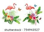 tropical summer arrangements... | Shutterstock .eps vector #754943527