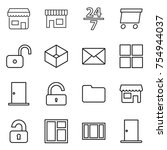 thin line icon set   shop  24 7 ... | Shutterstock .eps vector #754944037