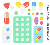 set of icons pills and capsules.... | Shutterstock .eps vector #754967953