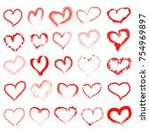 set of grunge hearts  hand drawn | Shutterstock .eps vector #754969897