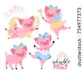 the set of adorable  cute ... | Shutterstock .eps vector #754977373