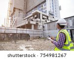 asian civil engineer checking... | Shutterstock . vector #754981267