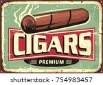 cigars  store retro sign design ... | Shutterstock .eps vector #754983457