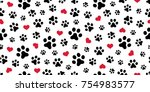 Stock vector dog paw cat paw heart love puppy foot print kitten valentine vector seamless pattern wallpaper 754983577