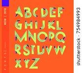 vector alphabet typography logo ... | Shutterstock .eps vector #754984993