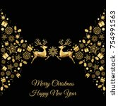 christmas golden background.... | Shutterstock .eps vector #754991563