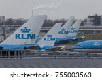 Klm Fleet Lined Up At Gates In...