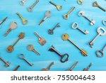 background from various keys on ... | Shutterstock . vector #755004643