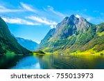 aurlandsfjord   unesco enlisted ... | Shutterstock . vector #755013973