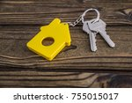 key with yellow shaped house...   Shutterstock . vector #755015017