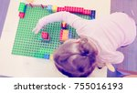 toddler girl playing with... | Shutterstock . vector #755016193