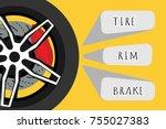 black racing wheel with disk... | Shutterstock .eps vector #755027383