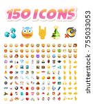 set of realistic cute icons on... | Shutterstock .eps vector #755033053
