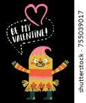 vector cartoon funny monster... | Shutterstock .eps vector #755039017