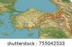 turkey geographical map with... | Shutterstock . vector #755042533