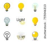 different creative lightbulb... | Shutterstock . vector #755046313