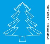 spruce icon blue outline style... | Shutterstock . vector #755052283