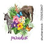 tropical summer arrangement...   Shutterstock .eps vector #755052847