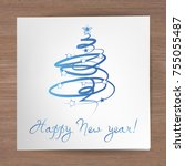 happy new year greeting card ... | Shutterstock .eps vector #755055487