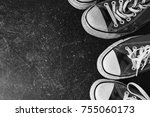 old black sneakers and on a... | Shutterstock . vector #755060173