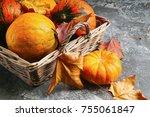 Autumn Orange Pumpkins And...