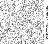 tracery seamless pattern.... | Shutterstock .eps vector #755074363