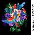 tropical summer arrangement... | Shutterstock .eps vector #755076553