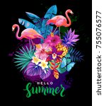 tropical summer arrangement... | Shutterstock .eps vector #755076577
