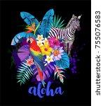 tropical summer arrangement...   Shutterstock .eps vector #755076583