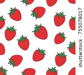 strawberry fruit pattern with... | Shutterstock .eps vector #755078017