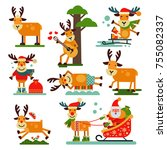 christmas cute reindeer santa...   Shutterstock .eps vector #755082337