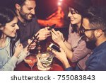 happy friends using mobile... | Shutterstock . vector #755083843