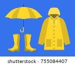 raincoat  rubber boots  open... | Shutterstock .eps vector #755084407