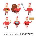 collection of christmas santa... | Shutterstock .eps vector #755087773