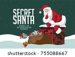 cartoon santa claus climbing... | Shutterstock .eps vector #755088667