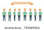 flat guy character set.... | Shutterstock .eps vector #755089063