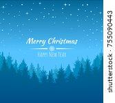 vector winter night starry sky  ...   Shutterstock .eps vector #755090443