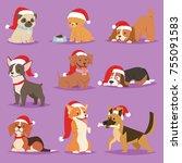 cute funny cartoon dogs vector... | Shutterstock .eps vector #755091583