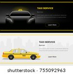 taxi service web banners. taxi... | Shutterstock .eps vector #755092963