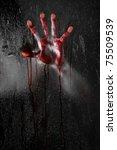 horror scene with bloody hand... | Shutterstock . vector #75509539