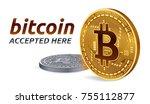 bitcoin accepted sign emblem.... | Shutterstock .eps vector #755112877
